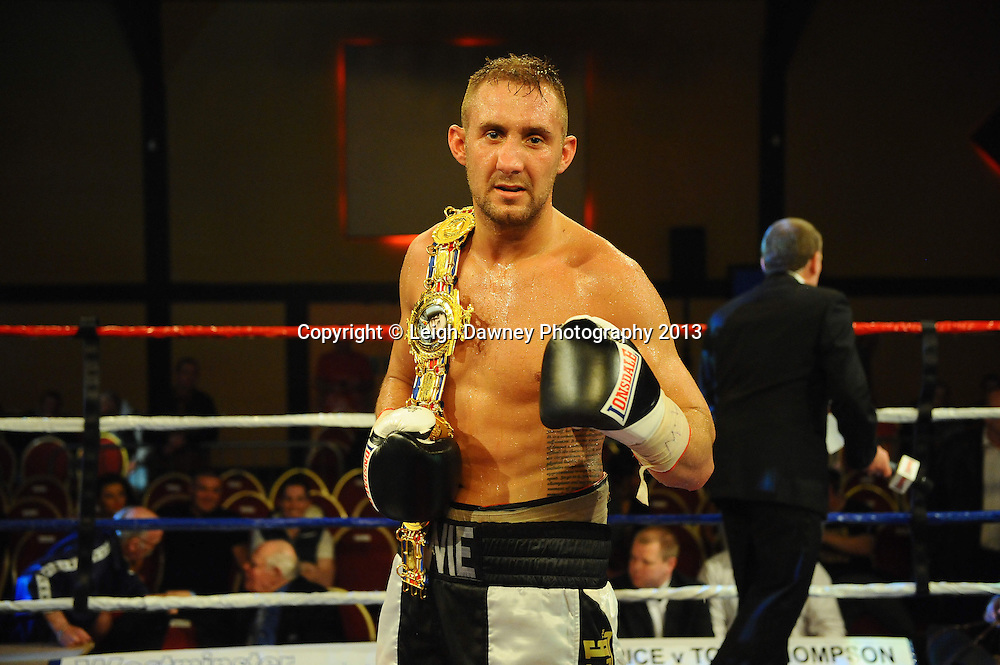 Jon Lewis Dickinson defeats David Dolan after 12 twelve rounds for the British Cruiserweight Title at Rainton Meadows Arena, Houghton Le Spring, Tyne & Wear, UK. 15th February 2013. Frank Maloney Promotions. © Leigh Dawney 2013