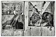 """Close-up details of fragments of photographs pasted on the wooden walls of the interior of a Buddhist monk's meditation hut set within a dense bamboo forest, in the grounds of the Pha Koeng Buddhist temple, Chaiyaphum Province, Northeast Thailand, 2014. From the series: Pha Koeng"""" (2011-2017)."""