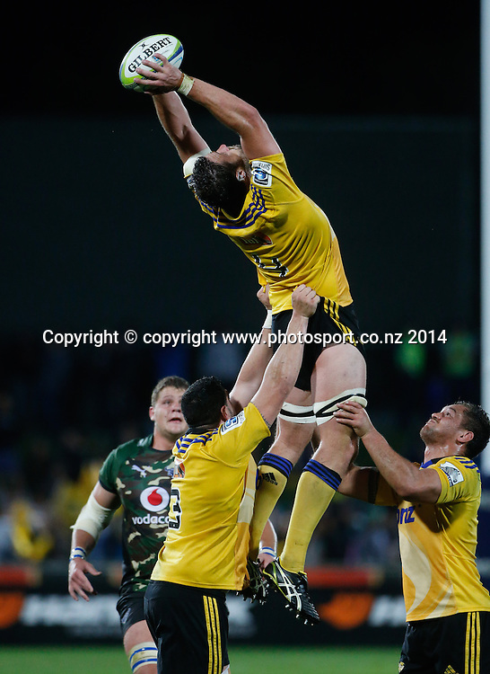 Hurricane's Jeremy Thrush takes a lineout ball during the Super Rugby match, Hurricanes v Bulls, McLean Park, Napier, New Zealand. Saturday, 05 April, 2014. Photo: John Cowpland / photosport.co.nz