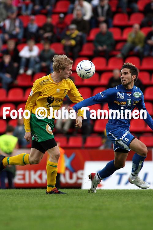 26.04.2007, Ratina, Tampere, Finland..Veikkausliiga 2007 - Finnish League 2007.Tampere United - FC KooTeePee.Tomi Petrescu (TamU) v Juha Majava (KooTeePee).©Juha Tamminen.....ARK:k