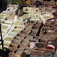 Africa, Morocco, Fes. Tanneries of Fes, Morocco.