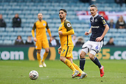 Brighton and Hove Albion midfielder Beram Kayal (7) battles with Millwall midfielder Shaun Williams (6)  during the The FA Cup quarter final match between Millwall and Brighton and Hove Albion at The Den, London, England on 17 March 2019.