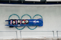 Teams from Great Britain compete in the four-man bobsleigh finals during the 2010 Olympic Winter Games in Whistler, BC Canada.