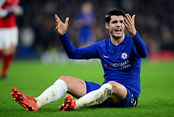 Alvaro Morata of Chelsea looks frustrated.- Mandatory by-line: Alex James/JMP - 10/01/2018 - FOOTBALL - Stamford Bridge - London, England - Chelsea v Arsenal - Carabao Cup semi-final first leg