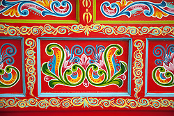 Sarchi, Costa Rica:  Detail of hand painting on Costa Rican ox-cart. Fabrica de Carretas, Jacquin Charverri Ltd.