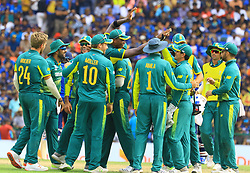 August 5, 2018 - Kandy, Sri Lanka - South African cricketers  celebrate after taking a wicket during the 3rd One Day International cricket match between Sri Lanka and South Africa at Pallekele International Cricket Stadium, Pallekele, Kandy , Sri Lanka on Sunday 5 th August 2018  (Credit Image: © Tharaka Basnayaka/NurPhoto via ZUMA Press)