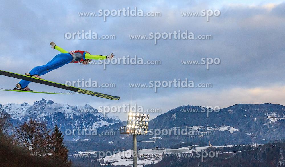 06.01.2016, Paul Ausserleitner Schanze, Bischofshofen, AUT, FIS Weltcup Ski Sprung, Vierschanzentournee, Bischofshofen, Probedurchgang, im Bild Stefan Kraft (AUT) // Stefan Kraft of Austria during his trial jump of the Four Hills Tournament of FIS Ski Jumping World Cup at the Paul Ausserleitner Schanze in Bischofshofen, Austria on 2016/01/06. EXPA Pictures © 2016, PhotoCredit: EXPA/ JFK