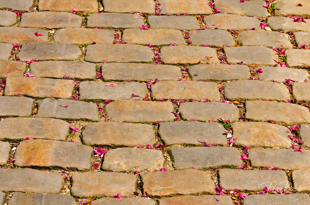 Cobblestone walkway at Père Lachaise Cemetery, Paris, France