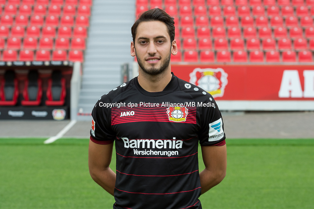 German Bundesliga - Season 2016/17 - Photocall Bayer 04 Leverkusen on 25 July 2016 in Leverkusen, Germany: Hakan Calhanoglu. Photo: Guido Kirchner/dpa | usage worldwide