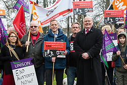 Maidenhead, UK. 23rd February, 2019. Matt Rodda (c), Labour MP for Reading East, and Pat McDonald (r), former Labour candidate for Maidenhead, join members of the Windsor and Maidenhead branches of the Labour Party and UNISON and GMB trade unions at a protest in Prime Minister Theresa May's constituency against planned spending cuts of £6.8m to the 2019/2020 budget by the Royal Borough of Windsor and Maidenhead. Over 1,000 people had signed a petition to the council demanding an alternative to the cuts.