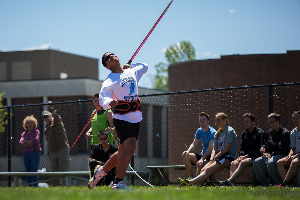 Richard Stockton College's Kevin Miller competes in the men's javelin  at the NJAC Track and Field Championships at Richard Wacker Stadium on the campus of  Rowan University  in Glassboro, NJ on Sunday May 5, 2013. (photo / Mat Boyle)