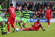 Forest Green Rovers Keanu Marsh-Brown(7) is brought down by Barrows Moussa Diarra(6), free kick during the Vanarama National League match between Forest Green Rovers and Barrow at the New Lawn, Forest Green, United Kingdom on 1 October 2016. Photo by Shane Healey.
