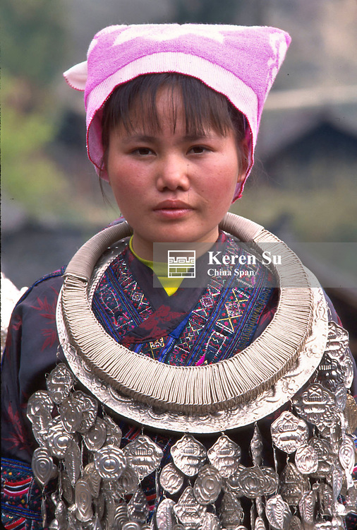 Wengxiang Miao girl with heavy silver necklace, Kaili, Guizhou Province, China