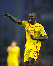 LONDON, ENGLAND - Saturday, September 20, 2014: Liverpool's Mamadou Sakho in action against West Ham United during the Premier League match at Upton Park. (Pic by David Rawcliffe/Propaganda)