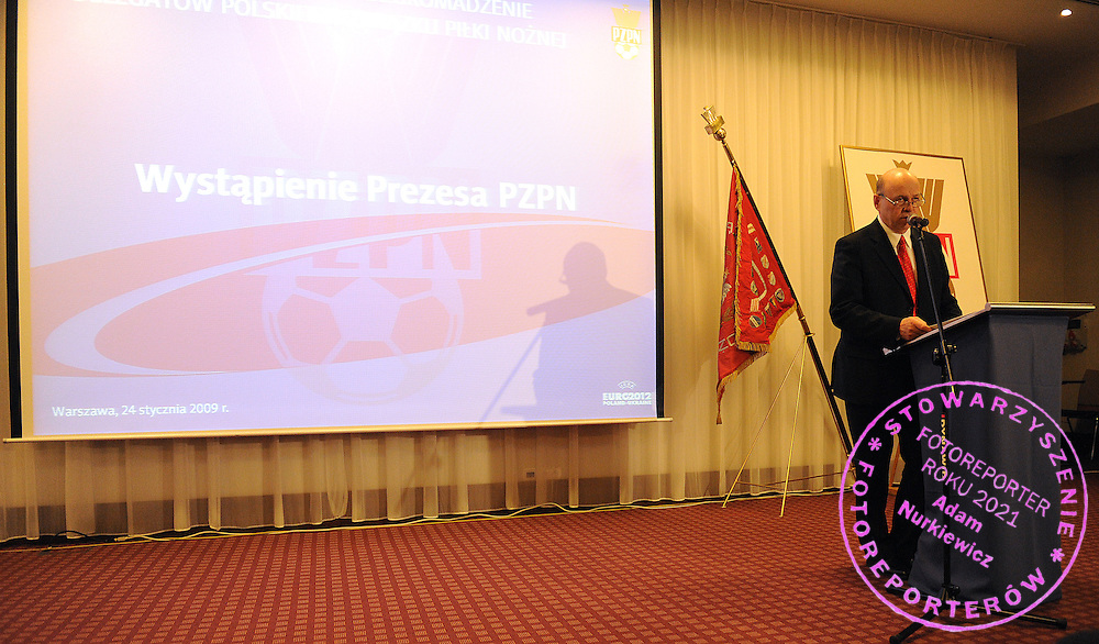 GRZEGORZ LATO - PRESIDENT OF PZPN DURING GENERAL MEETING POLISH FOOTBALL ASSOCIATION IN NOVOTEL HOTEL WARSAW...POLAND , WARSAW , JANUARY 24, 2009..( PHOTO BY ADAM NURKIEWICZ / MEDIASPORT ).