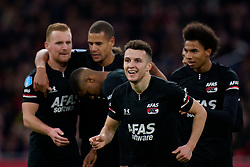 Oussama Idrissi #11 of AZ Alkmaar scores and celebrate with Myron Boadu #9 of AZ Alkmaar, Ramon Leeuwin #27 of AZ Alkmaar, Calvin Stengs #7 of AZ Alkmaar during the Dutch Eredivisie match round 25 between Ajax Amsterdam and AZ Alkmaar at the Johan Cruijff Arena on March 01, 2020 in Amsterdam, Netherlands