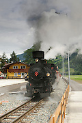 Zillertal, Tyrol, Austria, Steam hauled tourist train on the narrow gauge Zillertalbahn The historic Locomotive
