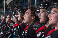 KELOWNA, CANADA - DECEMBER 5: Rodney Southam #17 of Kelowna Rockets watches the jumbotron from the bench against the Prince George Cougars on December 5, 2014 at Prospera Place in Kelowna, British Columbia, Canada.  (Photo by Marissa Baecker/Shoot the Breeze)  *** Local Caption *** Rodney Southam;