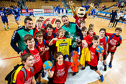 Uros Zorman with kids during handball event named Rokometna simfonija organised as a game between Zorman's team and Zvizej's team when Uros Zorman and Luka Zvizej officially retire from their professional handball career, on October 24, 2019 in Arena Zlatorog, Celje, Slovenia. Photo by Grega Valancic/ Sportida
