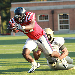 Samford wide receiver Kelsey Pope stretches out and scores against Wofford as times runs out in regulation time at Seibert Stadium in Homewood, Ala., Saturday, Oct 13, 2012. Samford defeats Wofford 24-17 in Overtime. (Marvin Gentry)