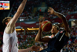 Omer Asik of Turkey vs Kevin Durant  of USA during the finals basketball match between National teams of Turkey and USA at 2010 FIBA World Championships on September 12, 2010 at the Sinan Erdem Dome in Istanbul, Turkey.   (Photo By Vid Ponikvar / Sportida.com)