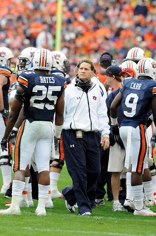 January 1, 2010: Gene Chizik of the Auburn Tigers in action during the NCAA football game between the Northwestern Wildcats and the Auburn Tigers in the Outback Bowl. The Tigers defeated the Wildcats 38-35 in overtime.
