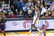 Golden State Warriors guard Nick Young (6) reacts to scoring a three pointer against the Utah Jazz at Oracle Arena in Oakland, Calif., on December 27, 2017. (Stan Olszewski/Special to S.F. Examiner)