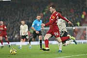 Liverpool defender Andrew Robertson (26) runs at goal during the Premier League match between Liverpool and Manchester United at Anfield, Liverpool, England on 19 January 2020.