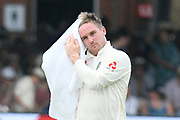 Jason Roy of England dries his hair with a towel in the drinks break during the International Test Match 2019 match between England and Ireland at Lord's Cricket Ground, St John's Wood, United Kingdom on 25 July 2019.