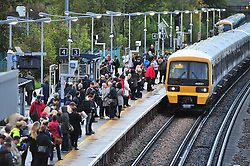 © Licensed to London News Pictures.20/10/2017.<br /> PETTSWOOD, UK.<br /> A wet and windy morning for commuters to London at Pettswood train station as storm Brian is set to hit the UK.<br /> Photo credit: Grant Falvey/LNP