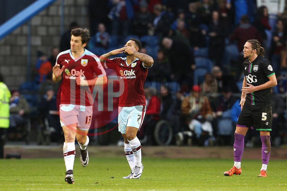 Burnley's Andre Gray celebrates after scoring his goal to make it 1-0 - Mandatory byline: Matt McNulty/JMP - 07966 386802 - 28/12/2015 - FOOTBALL - Turf Moor - Burnely, England - Burnley v Bristol City - Sky Bet Championship