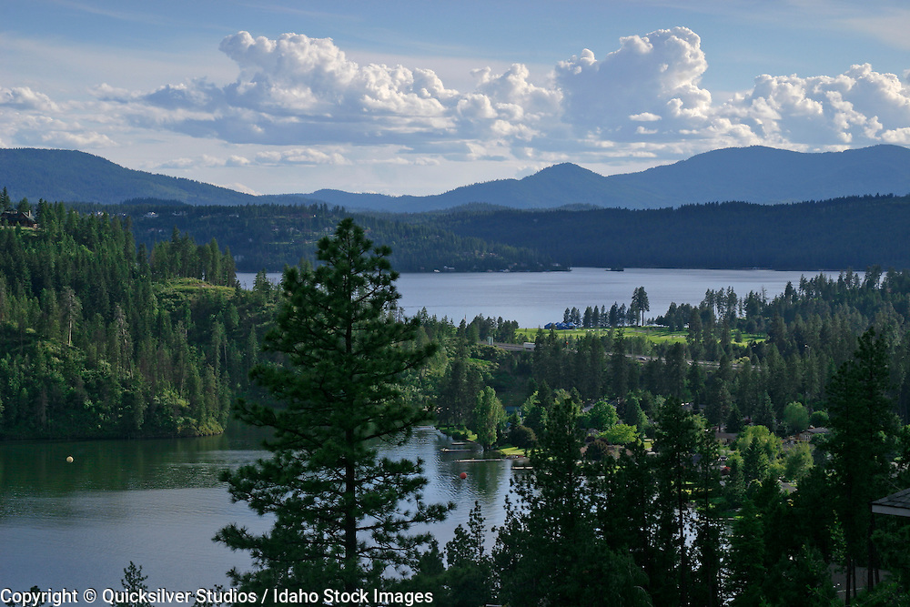 Idaho, Coeur dAlene, Fernan and CDA Lake looking south