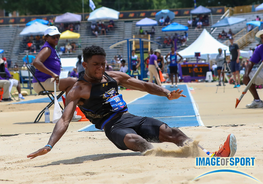Jamal Safo of Crete High School, Illinois, competes in the Boys Long Jump finals during the New Balance Outdoor Nationals, Sunday, June 16, 2019, in Greensboro, NC. (Brian Villanueva/Image of Sport)