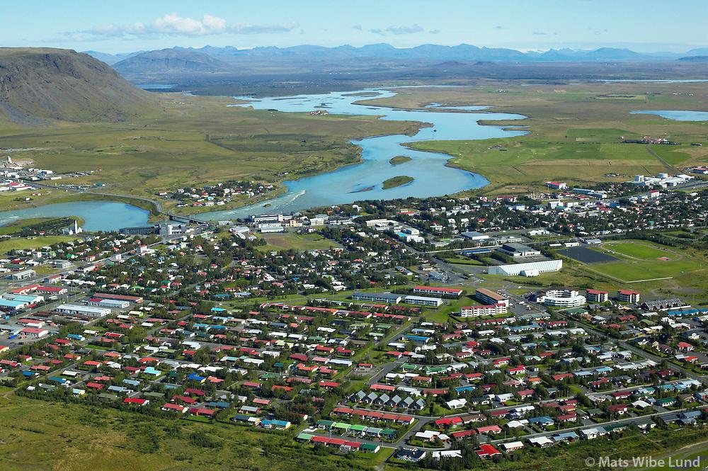 Selfoss til norðurs / Selfoss viewing north..Árborg frá 1998 / Arborg since 1998.