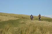 Mountain biking around Malham Cove in Malhamdale, North Yorkshire.