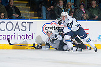 KELOWNA, CANADA - DECEMBER 3: Sam McKechnie #21 and Alex Forsberg #24 of Saskatoon Blades check a player of the Kelowna Rockets into the boards on December 3, 2014 at Prospera Place in Kelowna, British Columbia, Canada.  (Photo by Marissa Baecker/Shoot the Breeze)  *** Local Caption *** Sam McKechnie; Alex Forsberg;