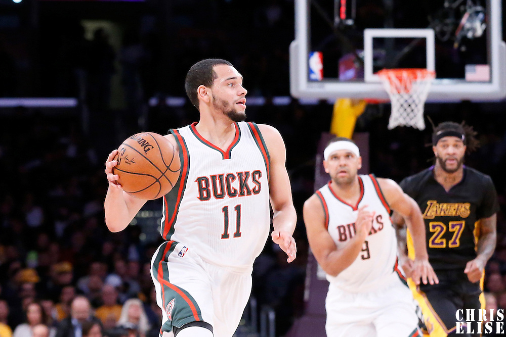 27 February 2015: Milwaukee Bucks guard Tyler Ennis (11) brings the ball up court during the Los Angeles Lakers 101-93 victory over the Milwaukee Bucks, at the Staples Center, Los Angeles, California, USA.