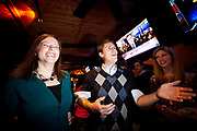 Amanda Loveday and  Preston Brittain celebrate with other members of the South Carolina Democratic Party. They regard the Newt Gingrich victory as good news for Barack Obama in the coming General Election.