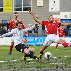 TELFORD COPYRIGHT MIKE SHERIDAN James McQuilkin of Telford shoots  during the Vanarama Conference North fixture between AFC Telford United and Brackley Town at the New Bucks Head on Saturday, January 4, 2020.<br /> <br /> Picture credit: Mike Sheridan/Ultrapress<br /> <br /> MS201920-039