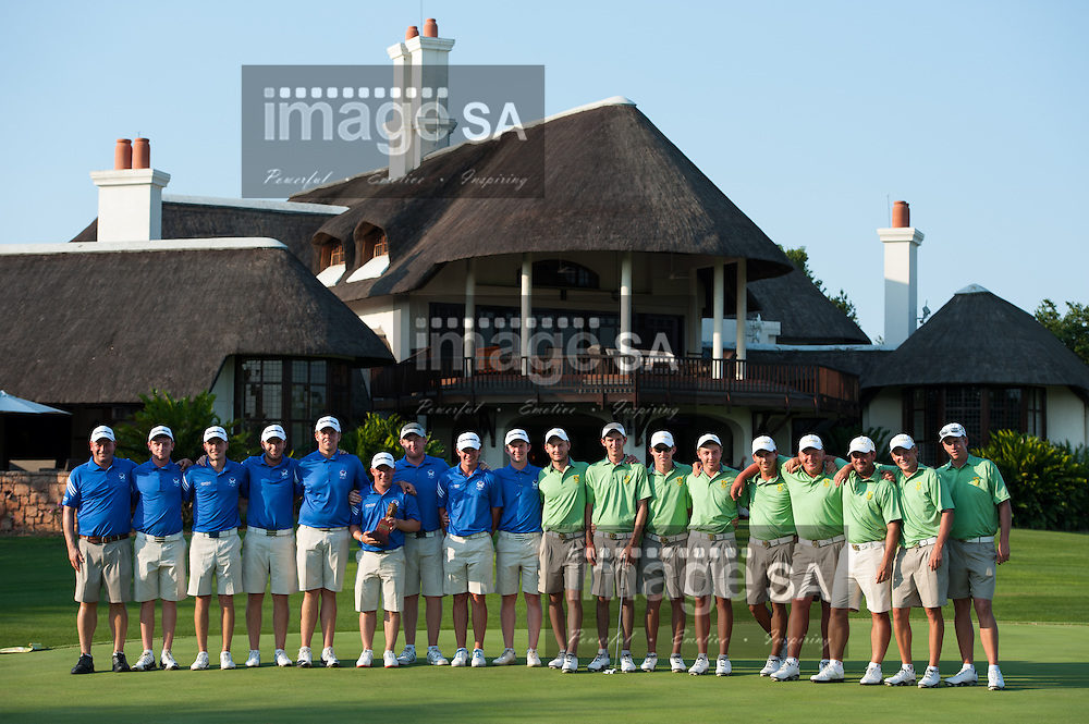 MALELANE, SOUTH AFRICA - Thursday 19 February 2015, Team Scotland and Team South Africa on the 18th green after the trophy presentation at the annual Leopard Trophy, a two day test between teams of the South African Golf Association and the Scottish Golf Union, at the Leopard Creek Golf Estate.<br /> Photo Roger Sedres/ Image SA
