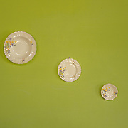 wall plates on a lime green wall in the wedding house on Ooty