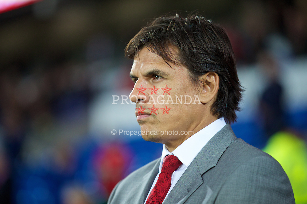 CARDIFF, WALES - Tuesday, September 10, 2013: Wales' manager Chris Coleman before the 2014 FIFA World Cup Brazil Qualifying Group A match against Serbia at the Cardiff CIty Stadium. (Pic by David Rawcliffe/Propaganda)