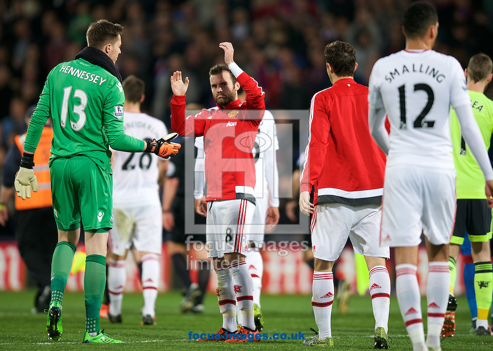 Juan Mata of Manchester United thanks the fans after their 0-0 draw in the Barclays Premier League match at Selhurst Park, London<br /> Picture by Alan Stanford/Focus Images Ltd +44 7915 056117<br /> 31/10/2015