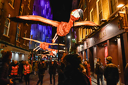 "© Licensed to London News Pictures. 18/01/2018. LONDON, UK.  ""Flamingo Flyway"" by Lantern Company with Jo Pocock takes place in Chinatown.  Opening night of Lumiere London, the capital's largest arts festival commissioned by The Mayor of London and produced by Artichoke.  Light installations by leading artists have been set up, both north and south of the river for the public to view 18-21 January. Photo credit: Stephen Chung/LNP"