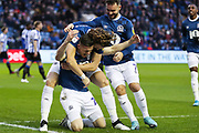 Blackburn Rovers players celebrate after Blackburn Rovers defender Darragh Lenihan (26) scores their team's fourth goal during the EFL Sky Bet Championship match between Sheffield Wednesday and Blackburn Rovers at Hillsborough, Sheffield, England on 18 January 2020.