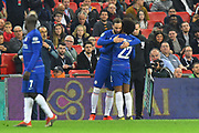 Substitution - Gonzalo Higuain (9) of Chelsea replaces Willian (22) of Chelsea during the Carabao Cup Final match between Chelsea and Manchester City at Wembley Stadium, London, England on 24 February 2019.