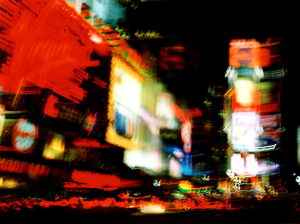 abstract shot of time square, new york at night