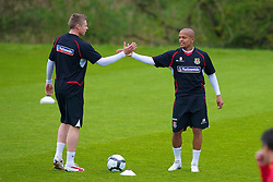 CARDIFF, WALES - Wednesday, May 19, 2010: Wales' Simon Church and Robert Earnshaw during a training session at the Vale of Glamorgan Hotel ahead of the International Friendly match against Croatia. (Pic by David Rawcliffe/Propaganda)