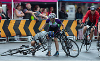 One riider helps another in Wimbledon. The Prudential RideLondon Sportives. Sunday 29th July 2018<br /> <br /> Photo: Jed Leicester for Prudential RideLondon<br /> <br /> Prudential RideLondon is the world's greatest festival of cycling, involving 100,000+ cyclists - from Olympic champions to a free family fun ride - riding in events over closed roads in London and Surrey over the weekend of 28th and 29th July 2018<br /> <br /> See www.PrudentialRideLondon.co.uk for more.<br /> <br /> For further information: media@londonmarathonevents.co.uk