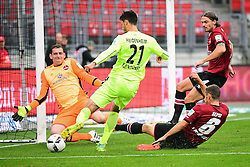 12.08.2016, Grundig Stadion, Nuernberg, GER, 2. FBL, 1. FC Nuernberg vs 1. FC Heidenheim, 2. Runde, im Bild Tim Kleindienst (1. FC Heidenheim / Mitte) beim Torschuss gegen Raphael Schaefer (1. FC Nuernberg / links). Mit im Bild (v.l.n.r.): Laszlo Sepsi (1. FC Nuernberg) und Dave Bulthuis (1. FC Nuernberg) // during the 2nd German Bundesliga 2nd round match between 1. FC Nuernberg and 1. FC Heidenheim at the Grundig Stadion in Nuernberg, Germany on 2016/08/12. EXPA Pictures © 2016, PhotoCredit: EXPA/ Eibner-Pressefoto/ Merz<br /> <br /> *****ATTENTION - OUT of GER*****